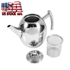 Stainless Steel Teapot Coffee Pot with Tea Leaf Infuser Filter 1L