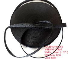 """12mm (1/2"""") BLACK polypropylene webbing Strap Tape Lanyards DIY bag nylon-25 MTR"""