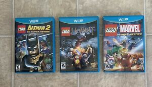 LOT-OF-3-Wii-U-Games-LEGO-Batman-2-Lego-Marvel-Super-Heroes-LEGO-The-Hobbit