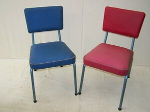 2 DDR chairs with Cover, Vintage Retro Chair, 60er 70er years Chair Red Blue