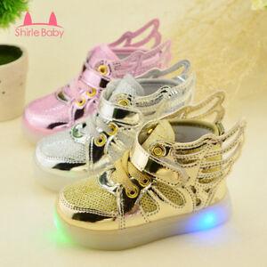 Luminous LED Baby Boy Girl Leisure Shoes Flying Wing Light ...