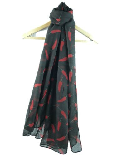 Ladies scarf with unique Chillies design superb quality Available in 3 colours