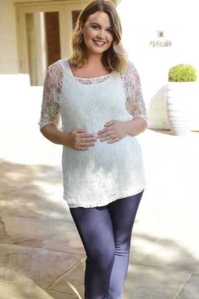 **sale** Ivory Lace Maternity Top & Vest Set ModèLes à La Mode