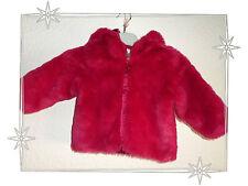 Magnifique Manteau Fausse Fourrure Rouge Baby Gap Taille 18 - 24 Mois