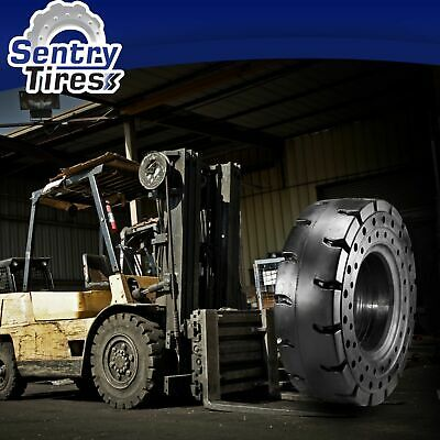 """Traction Solid Pneumatic Forklift Rubber Tire 6.50-10 5/"""" Rim Lug 650x10"""