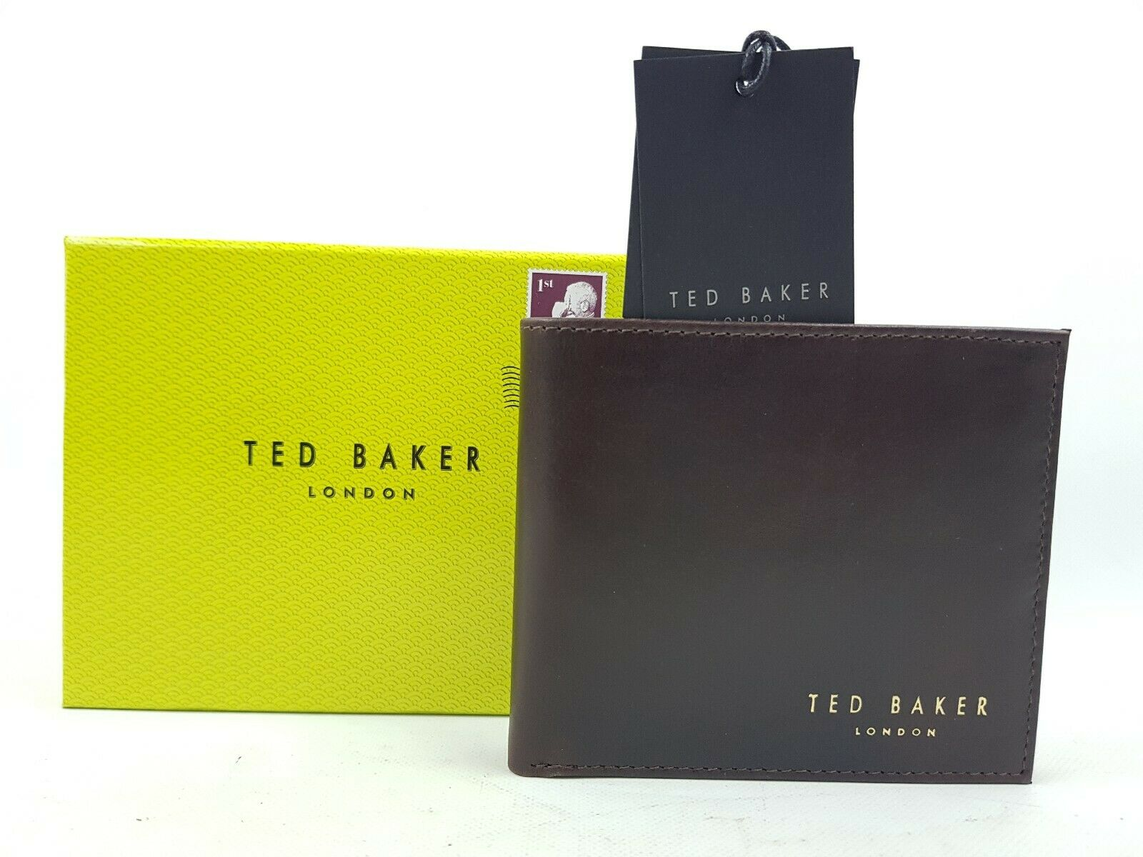 Mens Ted Baker Bifold Leather Wallet Chocolate Brown Brand New