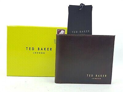 Ospitale Da Uomo Ted Baker Bifold Portafoglio Di Pelle Marrone Cioccolato Nuovo Di Zecca-mostra Il Titolo Originale