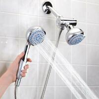 Bathroom Practical Dual Head 2 In 1 Bath Shower Head Spray Faucet Set V3y8 on sale