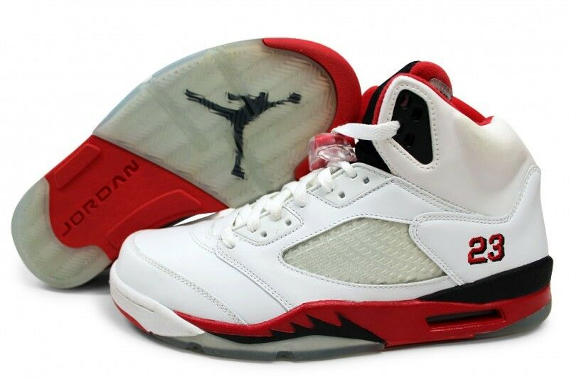 new arrival 687b0 4236c Nike Air Jordan Retro 5 5 5 White Fire Red Men s Basketball shoes Size 14  e92c0c