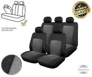 For-Ford-Grey-amp-Black-Fabric-Car-Seat-Covers-9-Pcs-Full-Set-Split-Rear-Seat