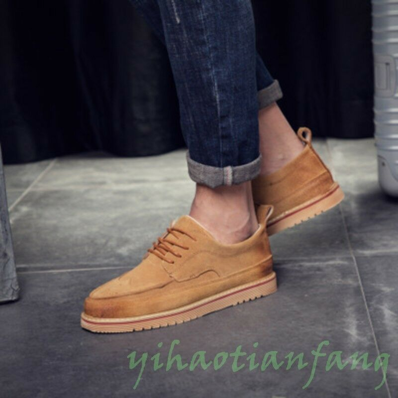 2019 New Fashion Uomo Dress Formal Shoe Loafers Suede Brogue Carving Vintage Hot