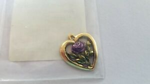 Victoria-Sampler-Antique-Mauve-Heart-Charm-Gold-Plated