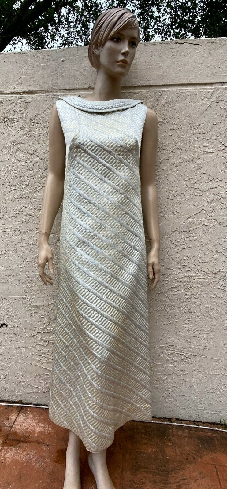70's NELLY DE GRAB JACKIE-O METALLIC SILVER LONG … - image 5