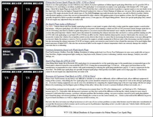 gasolina Spark Plugs gasolina 4x Chrysler Voyager 2.4 me y96 /> 01 = enérgico Ys Glp Gnv