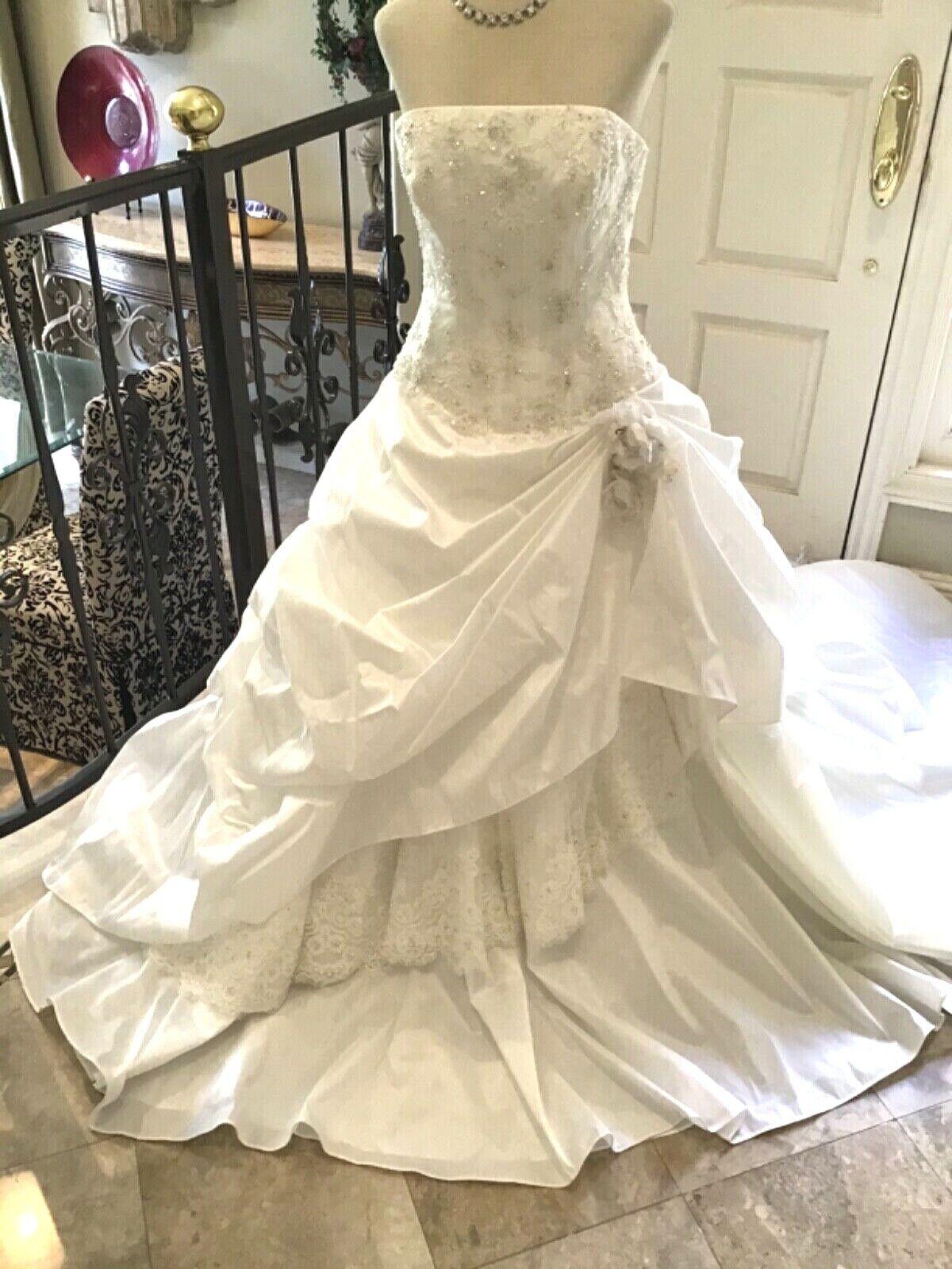 Allure Corset Wedding Dress Bridal Gown Diamond White taffeta lace up back 10