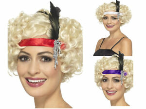 SATIN anni 1920 20 Cerchietto Con Piuma Grande Gatsby 20V Signore FANCY DRESS