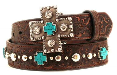 Ariat Western Womens Belt Leather Studs Turquoise Cross Concho  Brown A1517802