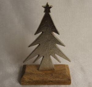 Holz Tannenbaum Groß.Details Zu Tannenbaum Holz Metall Dekoration Tischdeko Weihnachten Natur Silber Groß