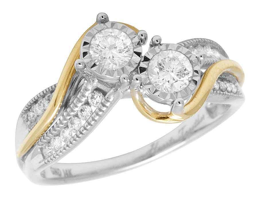 14K Yellow White gold Genuine Diamond 2 Stone Ladies Engagement Ring .50ct 10MM