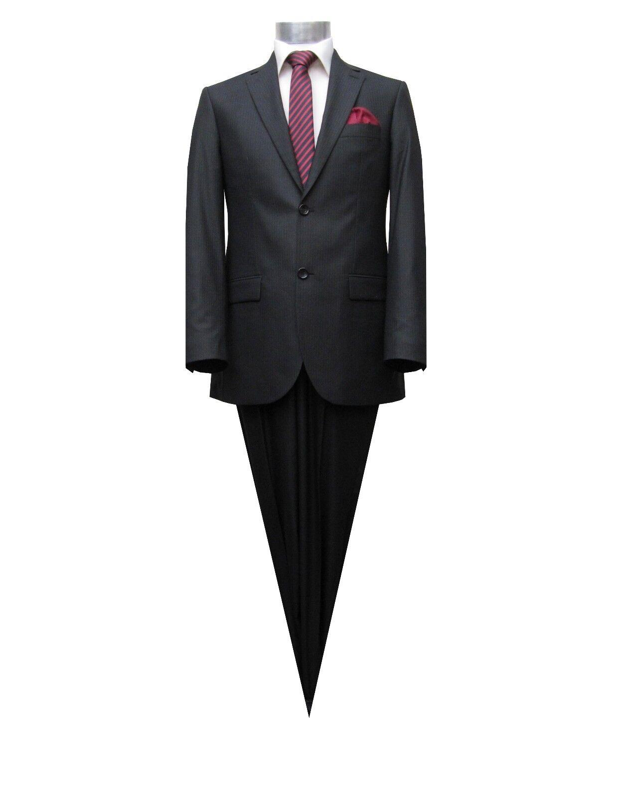 Herren Anzug gestreift Slim-Fit Gr.56 Schwarz