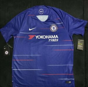 newest 3bc61 bf97b Details about NWT Nike Chelsea Home Soccer Football Jersey EPL 2019 HAZARD  #10 Size Large