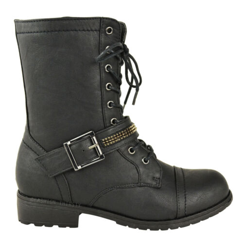LADIES WOMENS FLAT LACE UP  MILITARY ARMY COMBAT WORKER BIKER ANKLE BOOTS SIZE