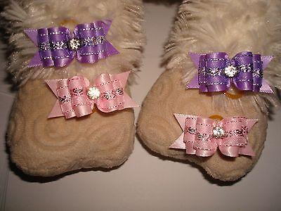 4 pcs Cat Dog 3D Hair Bows Decorative Design Rhinestones Ribbons Dog Grooming