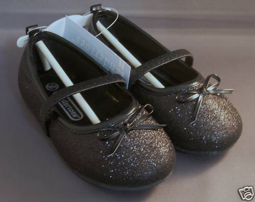 Little GIRLS  BLACK Mary Jane Style Glitter Sparkle Shoes elastic band 5//6 /& 7//8