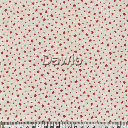 """€ 16,00//m decoración rojo a Cream patchwork Navidad /""""Scandi/"""" Estrellas tela"""