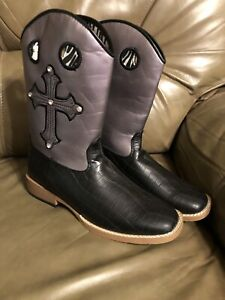 5fd29dcd35a Details about Blazin Roxx Girl Toddler Black Cowboy Boots Size 4.5 New With  Beautiful Cross!!