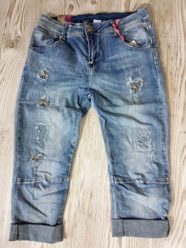 Mozzaar Bermuda Capri Jeans Straß destroeyed Gr.XS-M