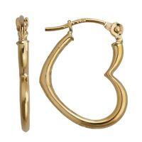 3d Polished Open Heart Love Hoop Earrings Real 14k Yellow Gold 0.50 Grams
