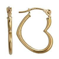 3d Polished Open Heart Love Hoop Earrings Real 14k Yellow Gold 0.50 Grams