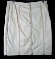 Mssp Max Studio Specialty Products Faux Leather Beige Cream Pencil Skirt Med