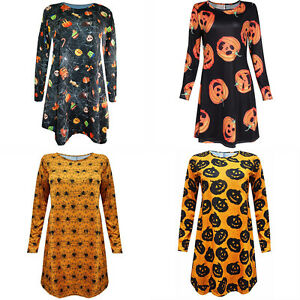Halloween-Costume-Women-Lady-Long-Sleeve-MIdi-Dress-Pumpkin-Spider-Skulls-Print