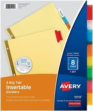 Avery 8 Tab Binder Dividers Insertable Multicolor Big Sturdy Reinforced 1 Set