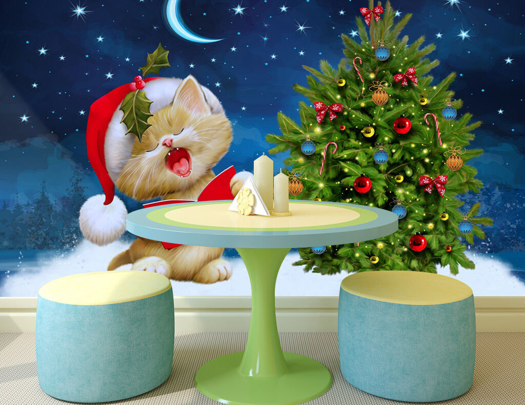 3D Christmas Cat 42 Wall Paper Wall Print Decal Wall Deco Indoor AJ Wall Paper