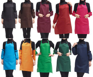 Plain-Apron-with-Front-Pocket-for-Chefs-Butchers-Kitchen-Cooking-Craft-UK-Baking