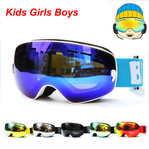 544ab1f7785e UV400 Anti-fog Skiing goggles Kids Double Lens Ski Snow Glasses ...