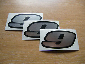 Black /& Fluorescent Yellow number 9 decals 95mm high stickers set of 3