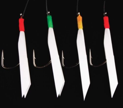5 RT DAYLIGHT RIGS 4 HOOK SIZE 2//0 MACKEREL FEATHER SEA FISHING BOAT ROD LURES