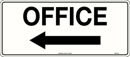 Office Directional Left Safety Sign Office Reception 450x200mm Metal