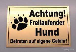 GroßZüGig Achtung Freilaufender Hund,gravur,schild,12 X 8 Cm,hundeschild,warnschild,neu Hunde