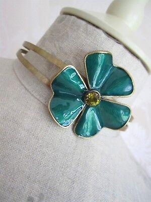 PILGRIM Choker Necklace Clover FLOWER Vintage Gold Green Swarovski Enamel BNWT