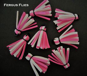 Hot Pink and White Hi Vis 8 Foam Strike Indicators for Fly Fishing Worldwide.