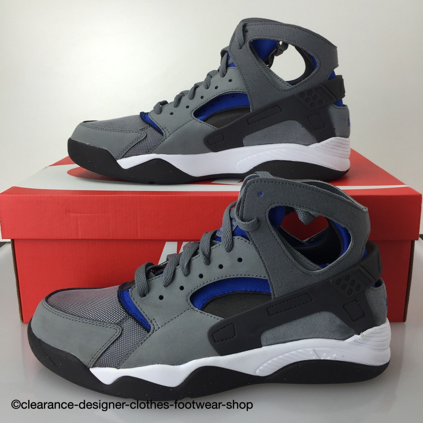 NIKE AIR FLIGHT HUARACHE TRAINERS NEW GREY ROYAL bleu Chaussures 9 RRP £130