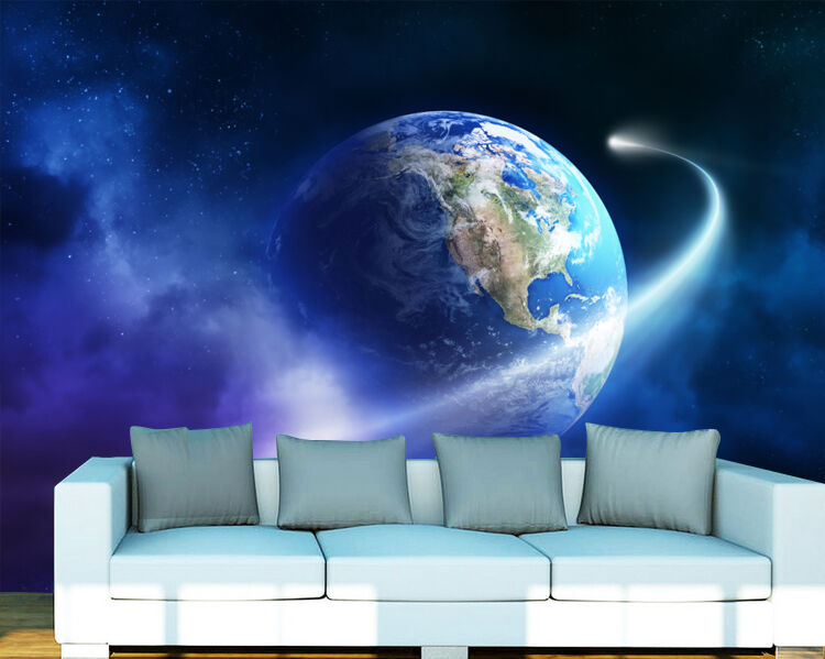 3D Earth around 495 WallPaper Murals Wall Print Decal Wall Deco AJ WALLPAPER