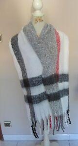 10e126e5f5c Echarpe XXL motif tartan( ecossais) homme femme blanc 49 X 186 cm de ...