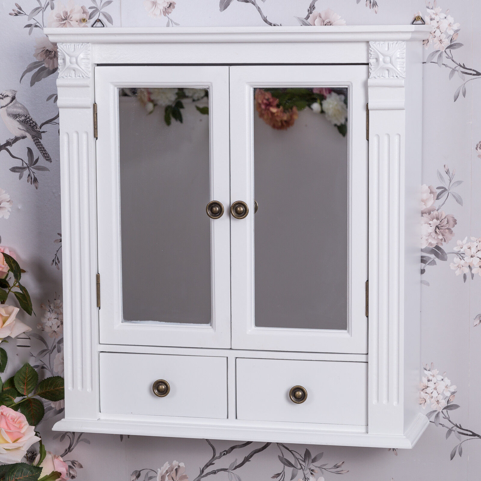White Wooden Mirrored Bathroom Wall Cabinet Shabby Vintage Chic Cupboard Storage