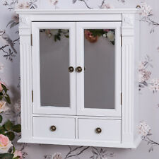 Item 1 White Wooden Mirrored Bathroom Wall Cabinet Shabby Vintage Chic Cupboard Storage